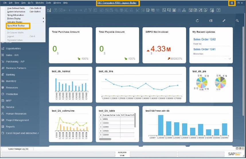 Screenshot: SAP Business One 10 - Dashboard