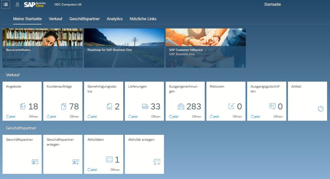 Screenshot: SAP Business One - Meine Startseite