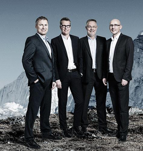 UNIORG Geschäftsführung v. l.: Hans-Peter Kreft, Thomas Weber, Andres Faber, Norbert Lakämper